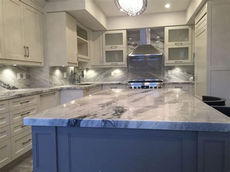 mont blanc quartzite kitchen  full backsplash