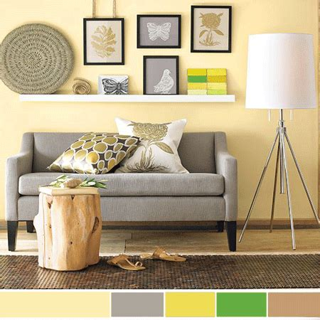 living room color schemes   Light brown cream gray yellow and green room colors, cream interior