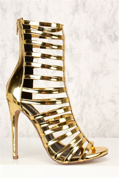 silver strappy high heels mirror gold strappy single sole high heel booties