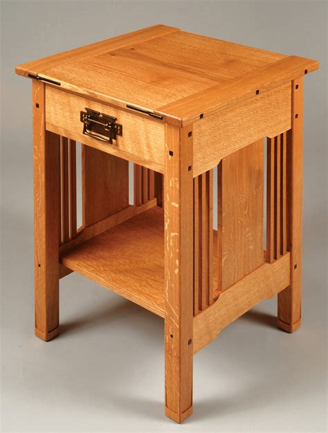 wood side table plans arts amp crafts bedside table woodworking projects