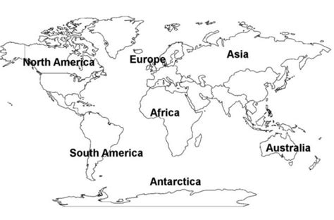 introduction to continents and countries for preschool and 886 | World Continents Map Free Printout Picture