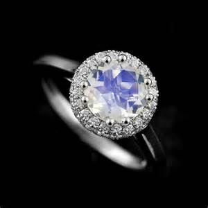 platinum modern moonstone center halo engagement ring orospot - Moonstone Engagement Rings