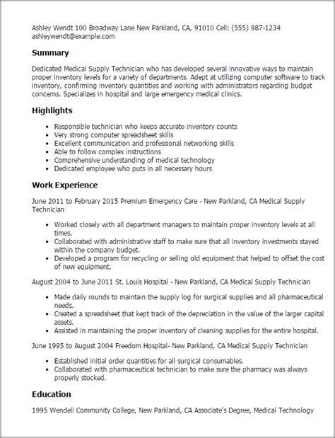 supply chain technician resume professional supply technician templates to showcase your talent myperfectresume