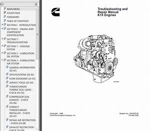 Cummins K19 Diesel Engine Troubleshooting And Repair Manual