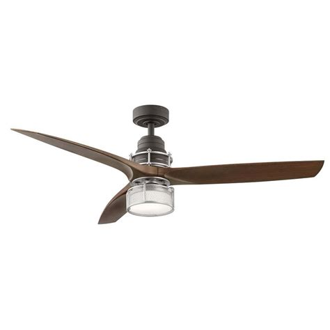integrated led ceiling fan shop kichler 54 in satin natural bronze with brushed
