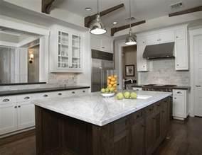 Marble Island Kitchen White Carrara Marble Countertop Transitional Kitchen Goforth Design