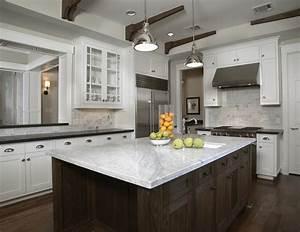 White Carrara Marble Countertop - Transitional - kitchen