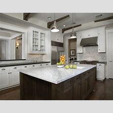 White Carrara Marble Countertop  Transitional  Kitchen
