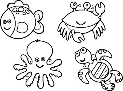Sea Animals Coloring Pages Printable Just Colorings Within