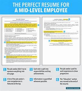 Ideal resume for mid level employee business insider for Ideal resume