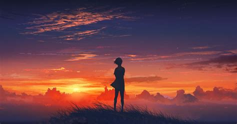Anime Sunset Wallpaper - sunset anime beautiful scenery in 2018 anime scenery