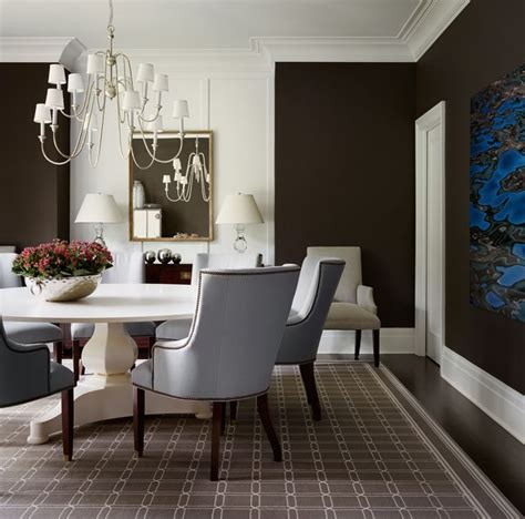 Classic Dining Room With Very Dark Brown Walls, Light Blue