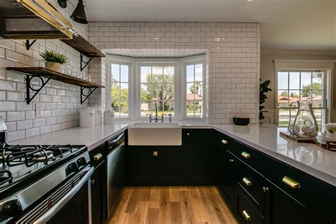 kitchen bay window farmhouse sink contemporary kitchen