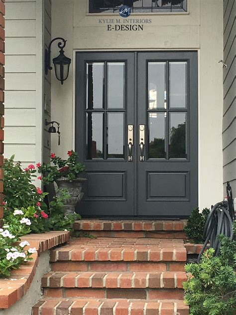 front door benjamin charcoal slate brick stairs exterior m interiors