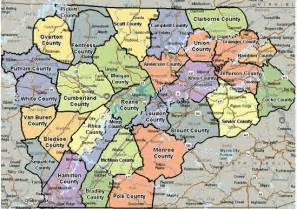 East Tennessee Counties and Cities Map