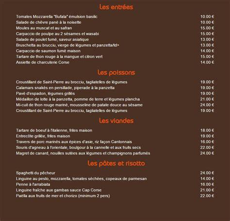 Carte De Menu Restaurant Original by Restaurant Le Mille Sabords 224 Lumio Carte Menu Et Photos