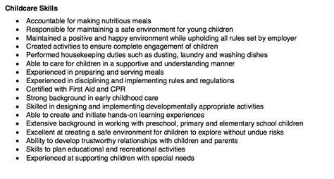 Child Care Resume Skills by Pin By Ririn Nazza On Free Resume Sle Resume Skills