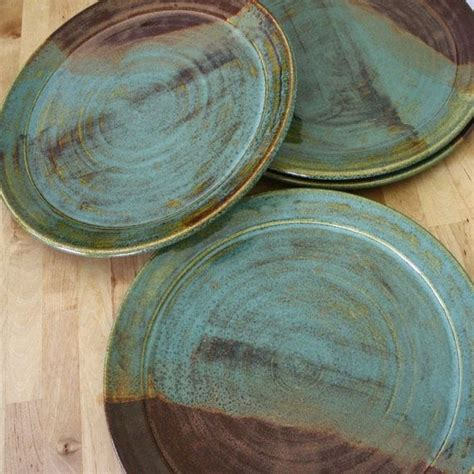 made plates handmade pottery plates set of wheel thrown plates large stoneware plates earthtoned
