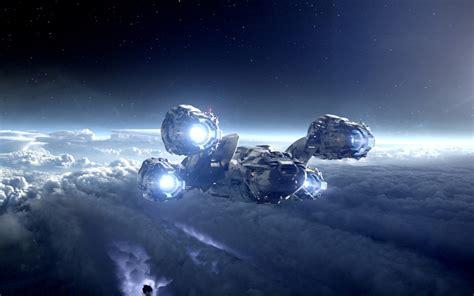 wallpaper night planet vehicle earth spaceship