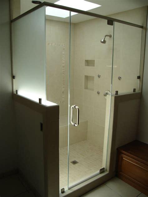frameless shower  header pony walls  satin etch