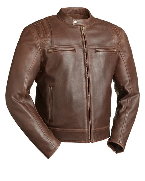 brown leather motorcycle jacket carbon fim241caz men 39 s leather motorcycle jacket brown