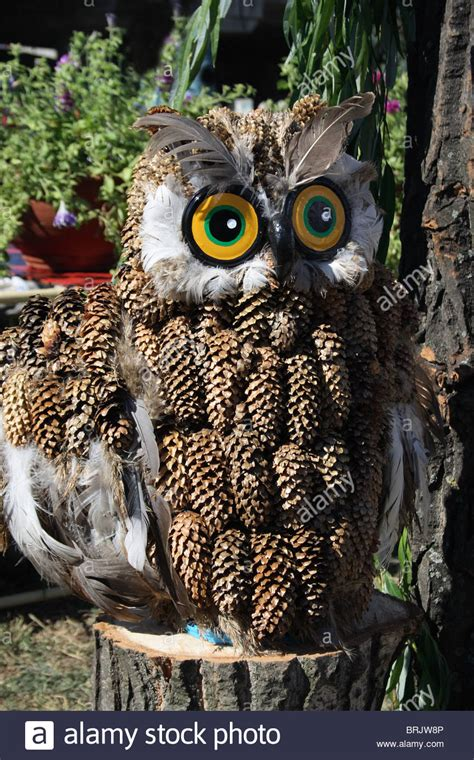 owl creations from pine cones and fluff souvenir owl made from pine cones stock photo royalty free image 31762438 alamy