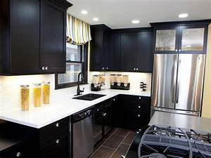 black kitchen cabinets pictures options tips ideas hgtv With best brand of paint for kitchen cabinets with dark metal wall art