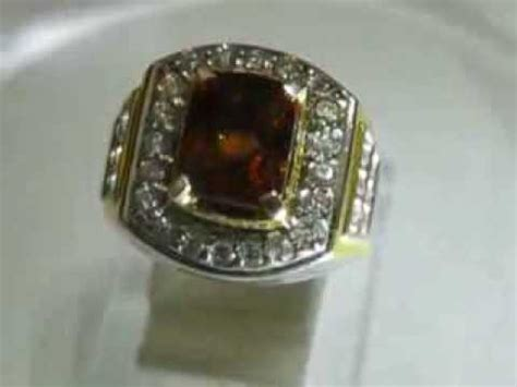 cincin perak pria ring 8us dengan batu mulia citrine 2 11 carat