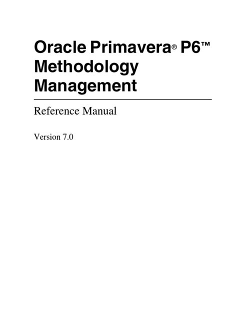 P6 Methodology Management Reference Manual | Application