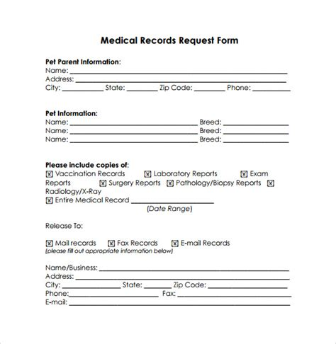 medical records release form   samples examples