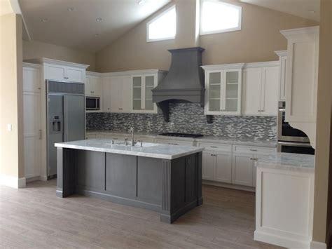 shaker white kitchen fluted grey island beach style