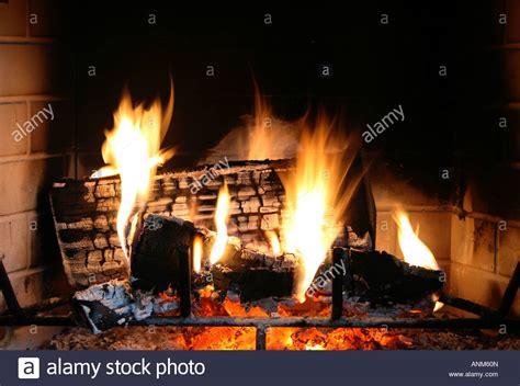 log fire burning  grate stock  log fire burning