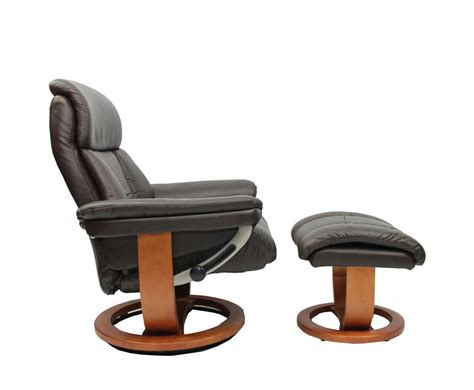 chocolate genuine leather swivel chair and foot stool