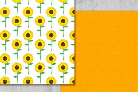 sunflower digital paper floral background flowers