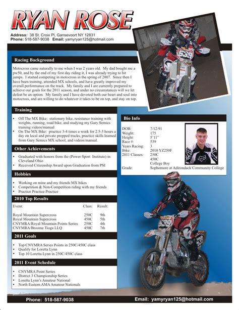 Motocross Sponsor Resume Exle by Racing Apparel Sponsorship Resume The Graphic Details