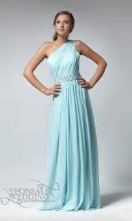 aqua blue bridesmaid dresses chiffon aqua blue grecian one shoulder bridesmaid dress dvw0022 vponsale wedding custom