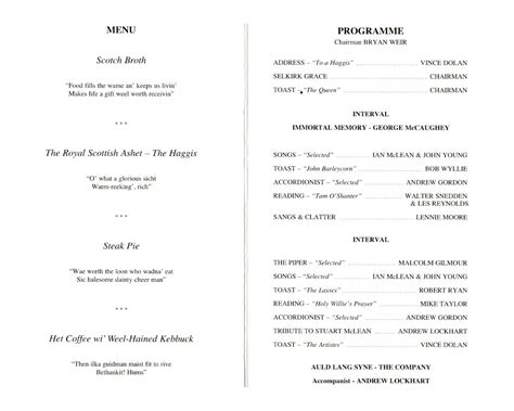 Burns Supper Menu Template by Burns Picture Quiz Best And Professional Templates