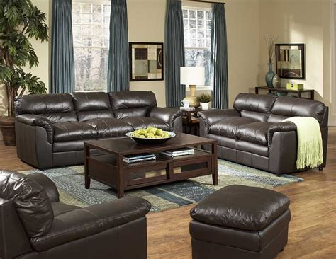 Leather Living Room Design by Brown Leather Transitional Style Sofa Loveseat Set