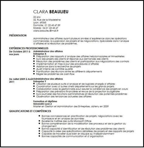 Des Model De Cv by Exemple De Cv Administrateur Des Affaires Exemples