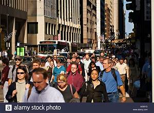 ILLINOIS Chicago Rush hour street and pedestrian traffic ...