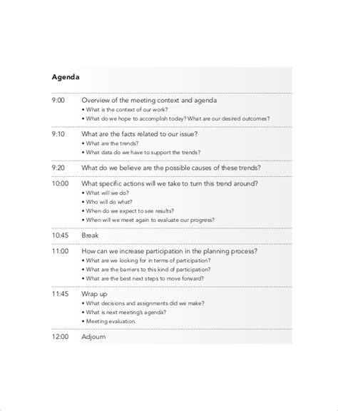 effective meeting agenda templates  sample