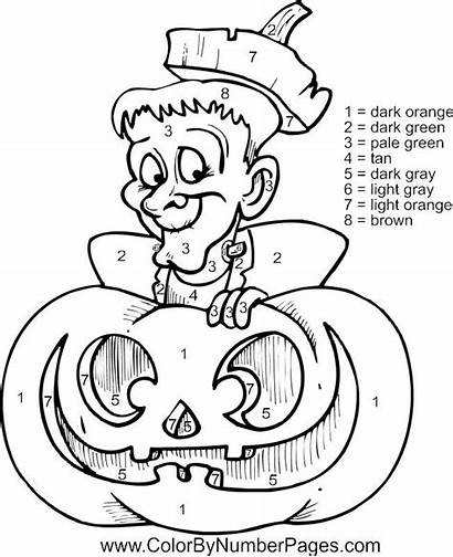 Halloween Coloring Number Pages Printable Numbers Adult