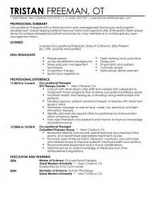 occupational therapy assistant resume exle occupational therapist resume sle my resume