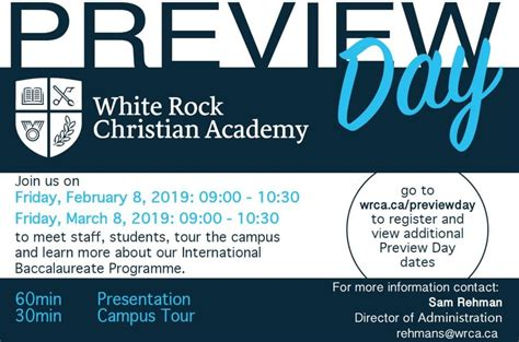 preview day white rock christian academy