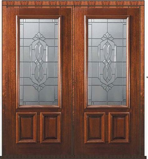 prehung double door  wood mahogany kensington  lite