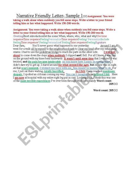 english worksheets igcse esl narrative friendly letter model