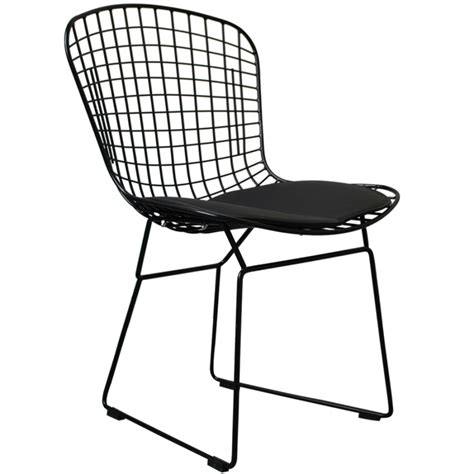 wire side chair harry bertoia inspired black powder