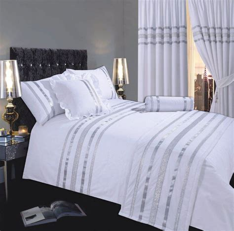 WHITE SILVER COLOUR STYLISH MODERN SEQUIN DUVET QUILT