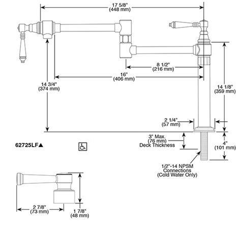Deck Mount Pot Filler Faucet : 62725LF PN : Artesso