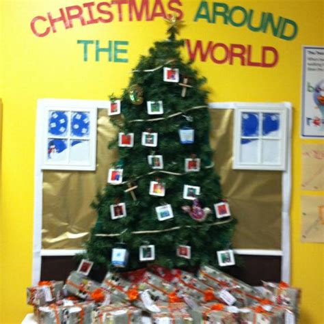 christmas around the world christmas tree bulletin board